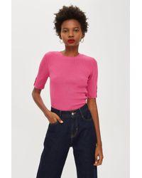 TOPSHOP - Pink Button Sleeve Knit T-shirt - Lyst