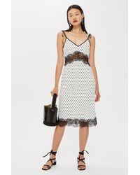 b68895c928d Lyst - TOPSHOP Spot Plisse Slip Dress
