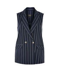 TOPSHOP Blue Striped Sleeveless Jacket