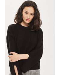TOPSHOP | Black Moss Stitch Wide Sleeve Jumper | Lyst