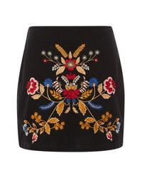 TOPSHOP - Black Moto Denim Embroidered A-line Skirt - Lyst