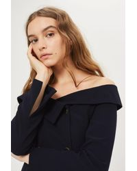 TOPSHOP - Blue Off Shoulder Blazer - Lyst