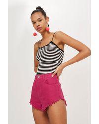 TOPSHOP - Pink Frayed Edge Denim Shorts - Lyst