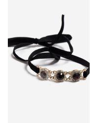TOPSHOP - Red stone Wrap Bracelet - Lyst