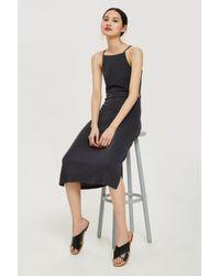 TOPSHOP - Black Cut Out Side Midi Slip Dress - Lyst
