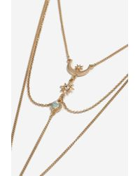 TOPSHOP - Metallic Star Tassel Ladder Necklace - Lyst