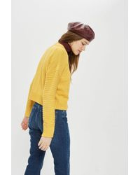 TOPSHOP - Yellow Tall Stitch Detail Jumper - Lyst