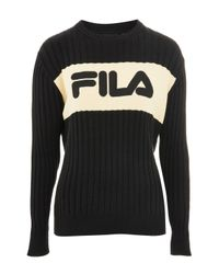 Fila - Black Crew Neck Knitted Jumper By - Lyst
