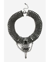 TOPSHOP | Multicolor Embellished Gunmetal Collar Necklace | Lyst