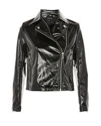 TOPSHOP - Black Petite Vinyl Biker Jacket - Lyst