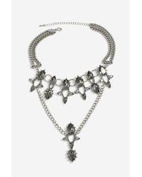 TOPSHOP - Gray Tear Drape Collar Necklace - Lyst