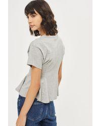 TOPSHOP - Gray Corset Seam T-shirt - Lyst