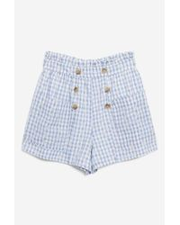 TOPSHOP - Blue Gingham Broidery Shorts - Lyst
