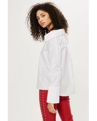 TOPSHOP White Deconstructed Hybrid Shirt