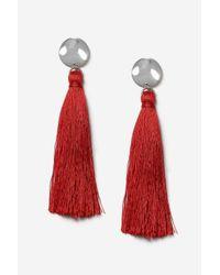 TOPSHOP - Red Stud Tassel Drop Earrings - Lyst