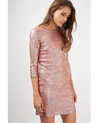 TOPSHOP - Multicolor Slash Neck Sequin Mini Dress - Lyst