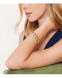 Tory Burch - Metallic Double-wrap Metal Embellished Bracelet - Lyst