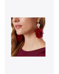 Tory Burch - Red Feather Drop Earring - Lyst