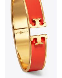 Tory Burch - Orange Enamel Logo Hinged Bracelet | 955 | Bracelets - Lyst