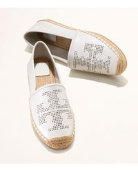 Tory Burch - White Perforated-logo Espadrille - Lyst