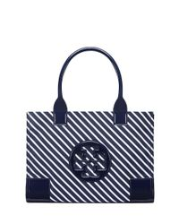 67b3ef85902 Lyst - Tory burch Ella Stripe Mini Tote in Blue
