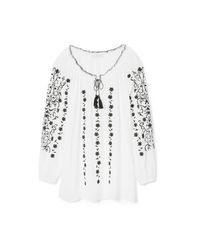 Tory Burch - White Embroidered Crinkle-gauze Top - Lyst
