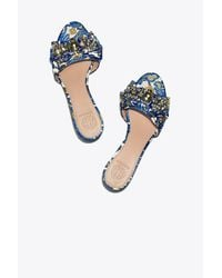 Tory Burch - Blue Valentina Bow Slide - Lyst
