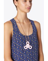 Tory Burch - Multicolor Classic Logo Spinner Necklace | 001 | Necklaces - Lyst