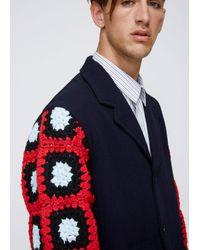 J.W. Anderson - Blue Crochet Sleeves Cutout Coat for Men - Lyst