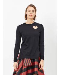 Proenza Schouler   Black Combo Heart Cut Out Pullover   Lyst