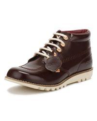Kickers - Brown Womens Dark Burgundy Leather Kick Hi Boots - Lyst