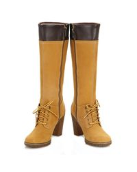 Timberland - Multicolor Womens Wheat Glancy Tall Lace With Zip Boots - Lyst