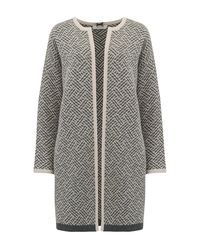 Cocoa Cashmere - Gray Long Tweed Cardigan In Ash And Oatmeal - Lyst