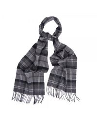 Barbour Gray Black 25 X 180cm Merino Cashmere Tartan Scarf for men