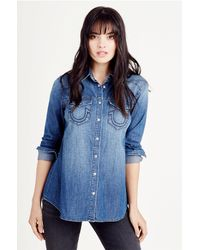 True Religion | Blue Relaxed Georgia Shirt | Lyst