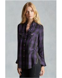 True Religion | Blue Georgia Plaid Zip Womens Shirt | Lyst