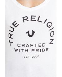 True Religion | White Relaxed V Neck Womens Tee | Lyst