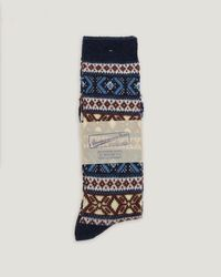 Anonymous Ism | Blue Wool Jacquard Crew Socks for Men | Lyst