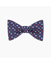 Turnbull & Asser Blue Cards And Flower Navy And Red Silk Bow Tie for men