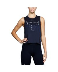Under Armour - Black Women's Ua X Project Rock Bull Twist Back Tank - Lyst