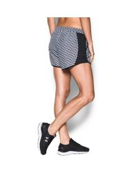 Under Armour - Black Women's Ua Fly-by Printed Run Short - Lyst