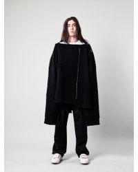 Raf Simons - Black Oversized Distorted Straight Necklined Sweater for Men - Lyst