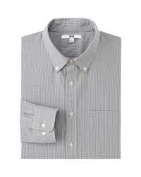 Uniqlo - Gray Men Extra Fine Cotton Broadcloth Checked Long Sleeve Shirt for Men - Lyst