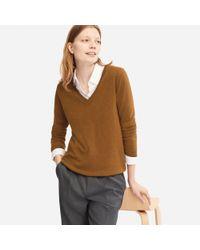 Uniqlo - Brown Women Cashmere V-neck Sweater - Lyst