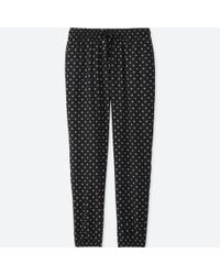 Uniqlo - Black Women Drape Dot-print Pants - Lyst