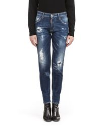 DSquared² | Blue Destroyed Skinny Jeans | Lyst