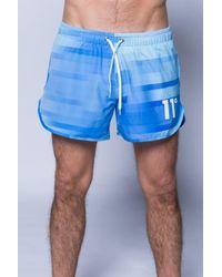 11 Degrees | Blue Printed Retro Swimshort for Men | Lyst