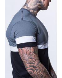 Enuki London - Blue Triple Panel T-shirt for Men - Lyst