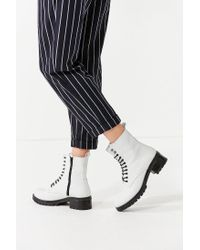 Urban Outfitters - White Zoe Leather Combat Boot - Lyst