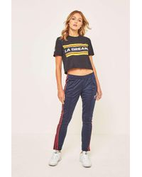 Adidas Originals Sst 3 Stripe Navy And Red Track Pants In Blue Lyst